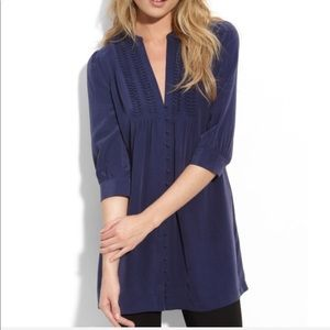 Joie Matte Silk Navy Blue 3/4 Sleeve Tunic Blouse